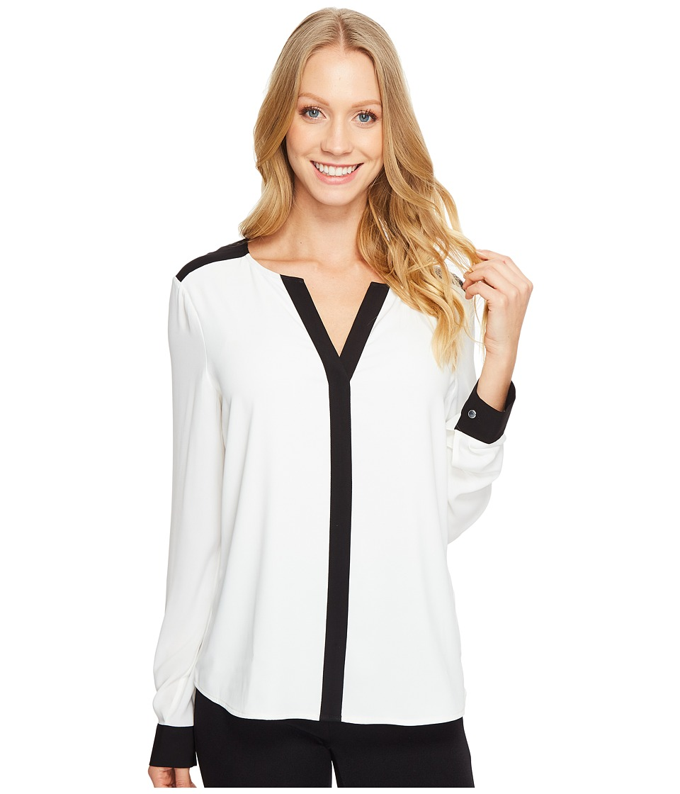 Calvin Klein - Long Sleeve V-Neck Top (Cream/Black) Women's Clothing
