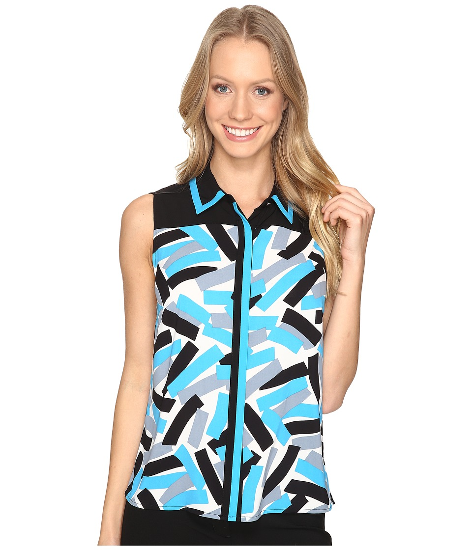 Calvin Klein - Sleeveless Printed Top with Collar (Adriatic/Multi) Women's Sleeveless