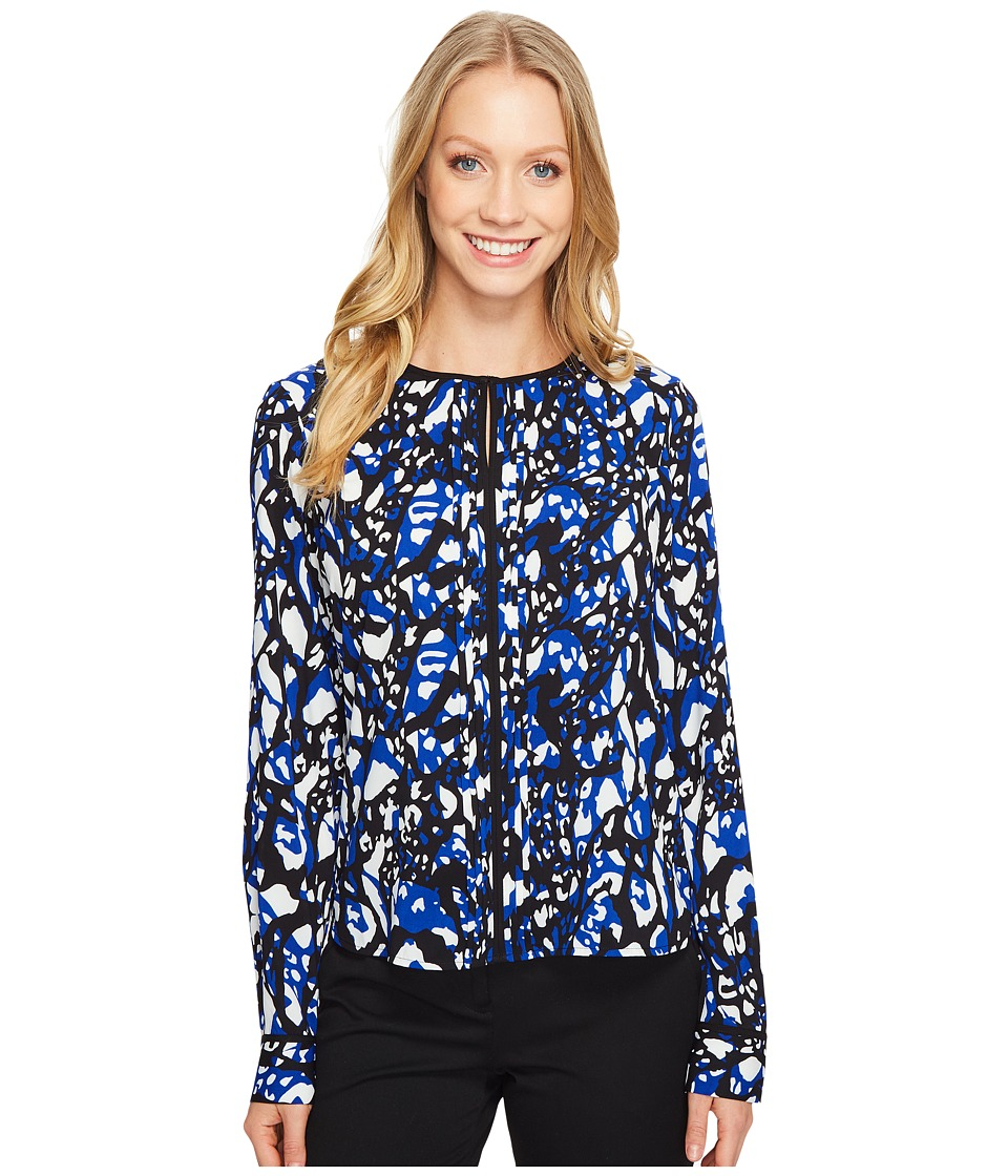 Calvin Klein - Printed Long Sleeve Top (Atlantis Multi) Women's Clothing