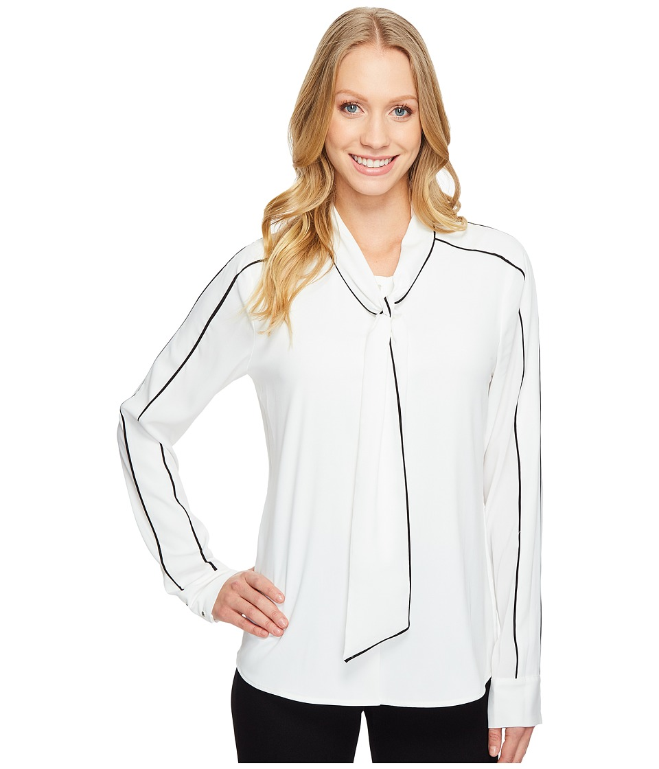 Calvin Klein - Long Sleeve Tie Neck Top (Cream/Black) Women's Clothing