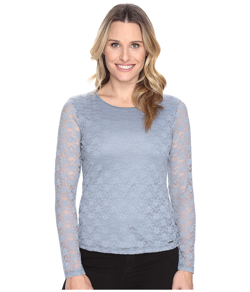 Calvin Klein - Long Sleeve Floral Lace Top (Dusty Shale) Women's Clothing