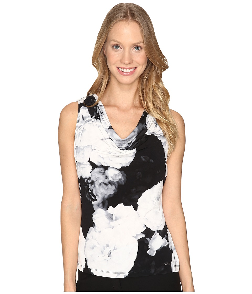 Calvin Klein - Printed Drape Neck Cami (Black/Multi) Women's Sleeveless