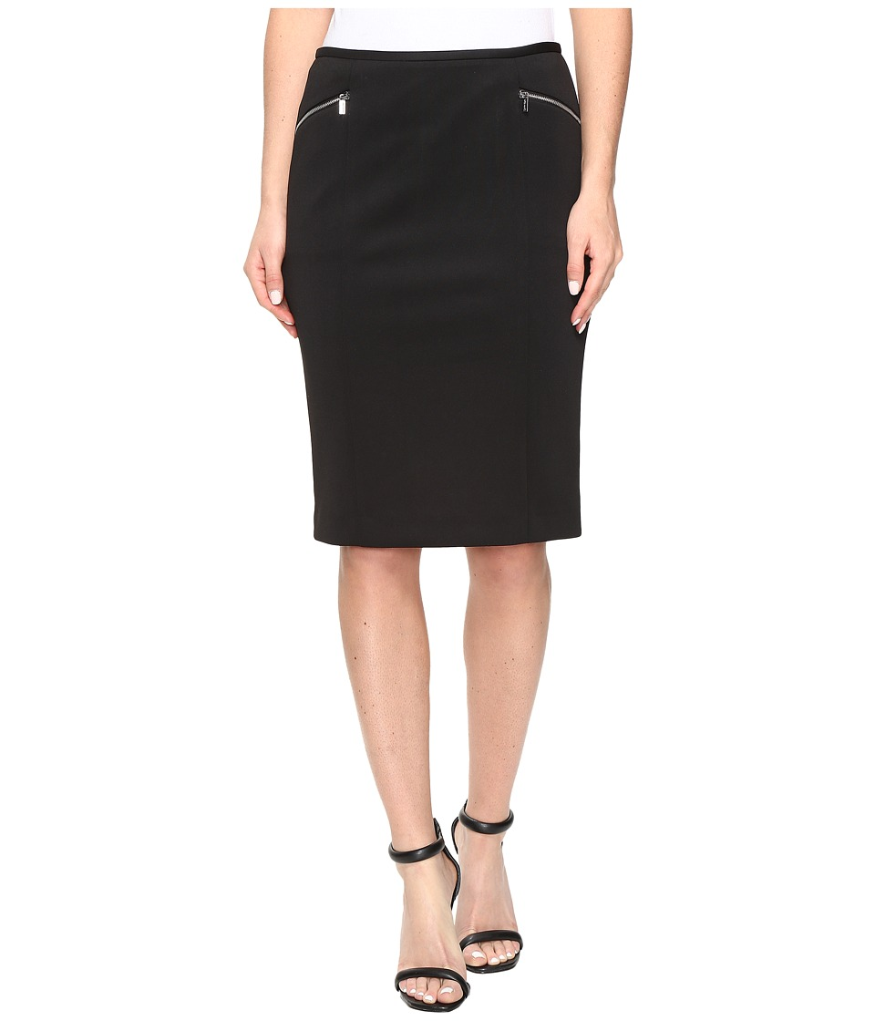 Calvin Klein - Scuba Skirt with Zippers (Black) Women's Skirt
