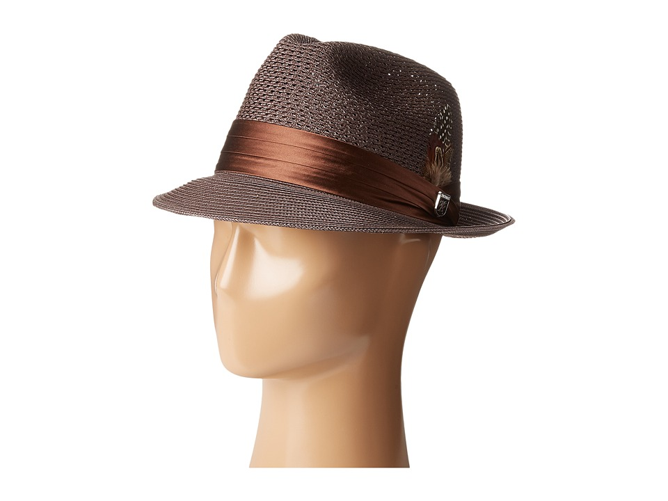 Stacy Adams - Polybraid Pinch Front Fedora with Silk Band (Chocolate) Fedora Hats