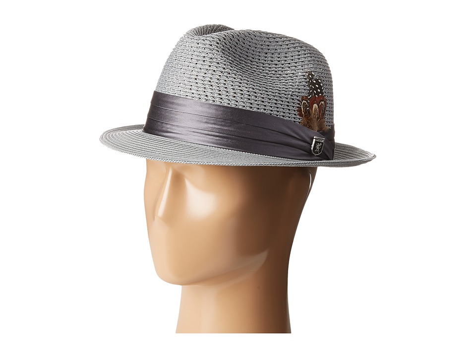 Stacy Adams Polybraid Pinch Front Fedora with Silk Band (Grey) Fedora Hats