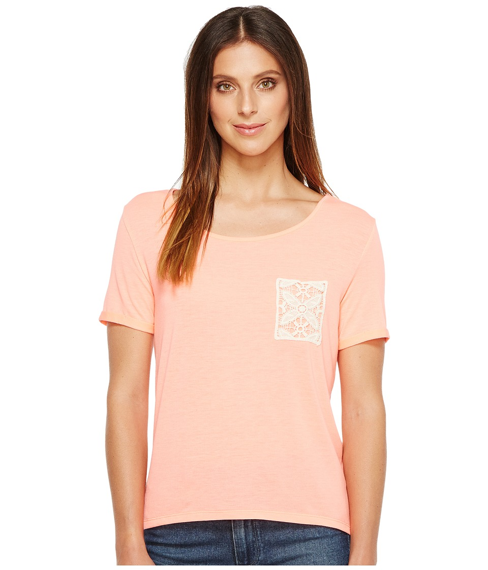 Rock and Roll Cowgirl - Short Sleeve Knit 49T2139 (Neon Pink) Women's Clothing