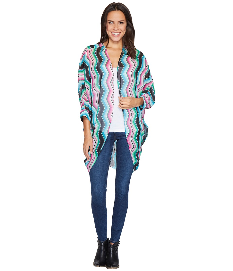Rock and Roll Cowgirl - 3/4 Sleeve Kimono B4-2525 (Hot Pink) Women's Clothing