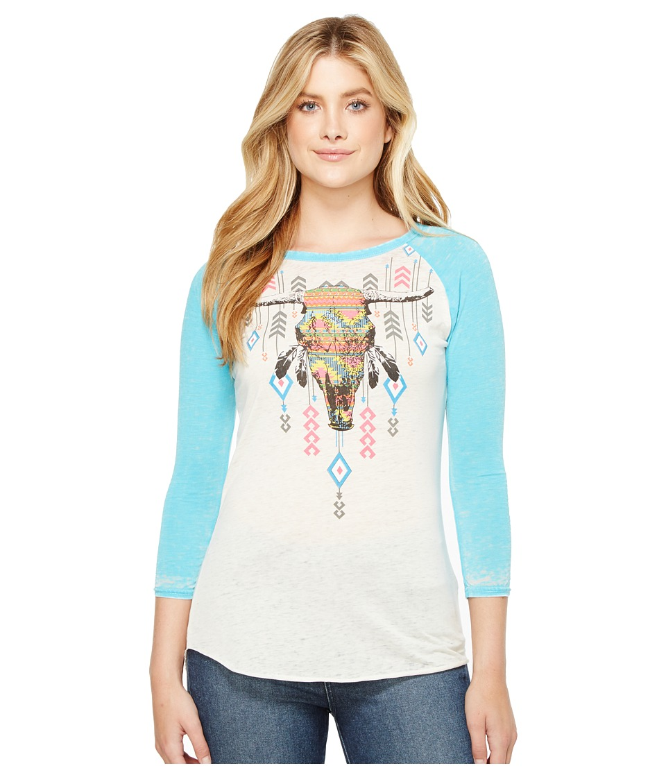 Rock and Roll Cowgirl - 3/4 Sleeve Knit 48T2102 (Bright Turquoise) Women's Clothing