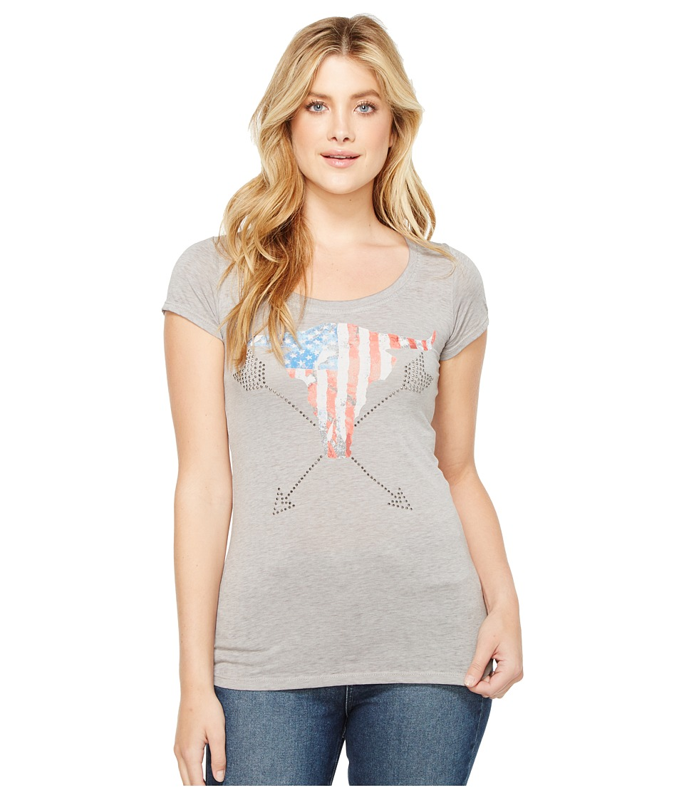 Rock and Roll Cowgirl - Cap Sleeve Tee 49T2105 (Grey) Women's T Shirt