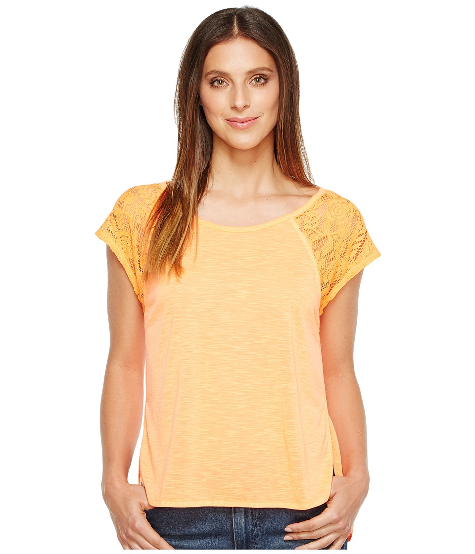 Rock and Roll Cowgirl - Lace Cap Sleeve 49T2138 (Neon Orange) Women's Clothing
