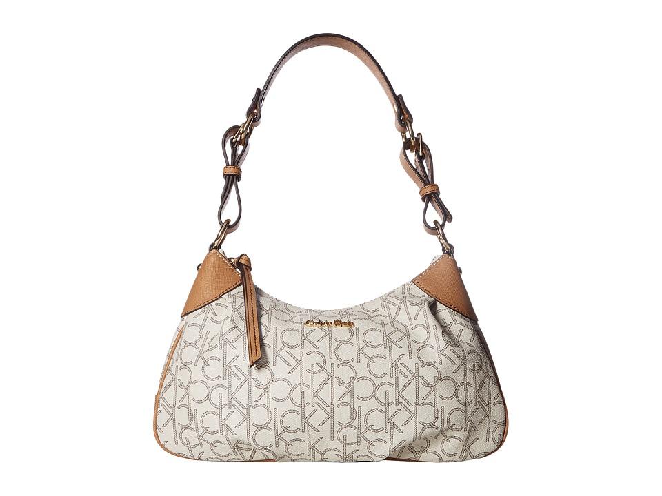 Calvin Klein - Hudson Monogram Demi (Almond/Khaki/Cashew) Handbags