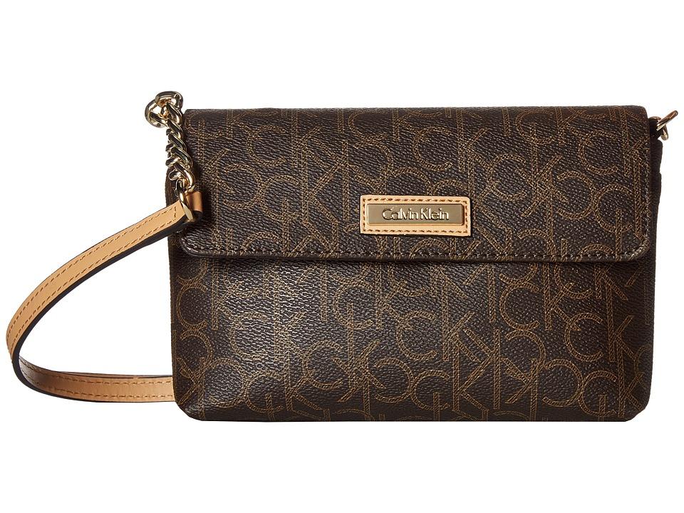 Calvin Klein - Key Items Monogram Crossbody (Brown/Khaki/Camel) Cross Body Handbags