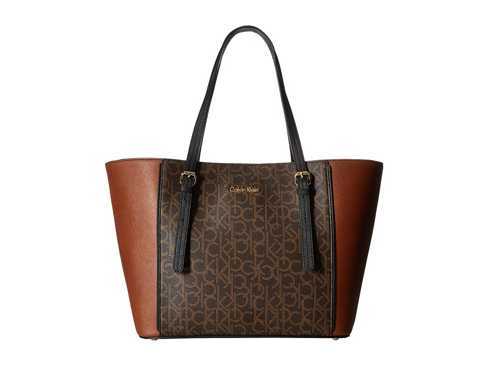 Calvin Klein - Key Items Saffiano Tote (Brown/Khaki/Luggage/Black) Tote Handbags
