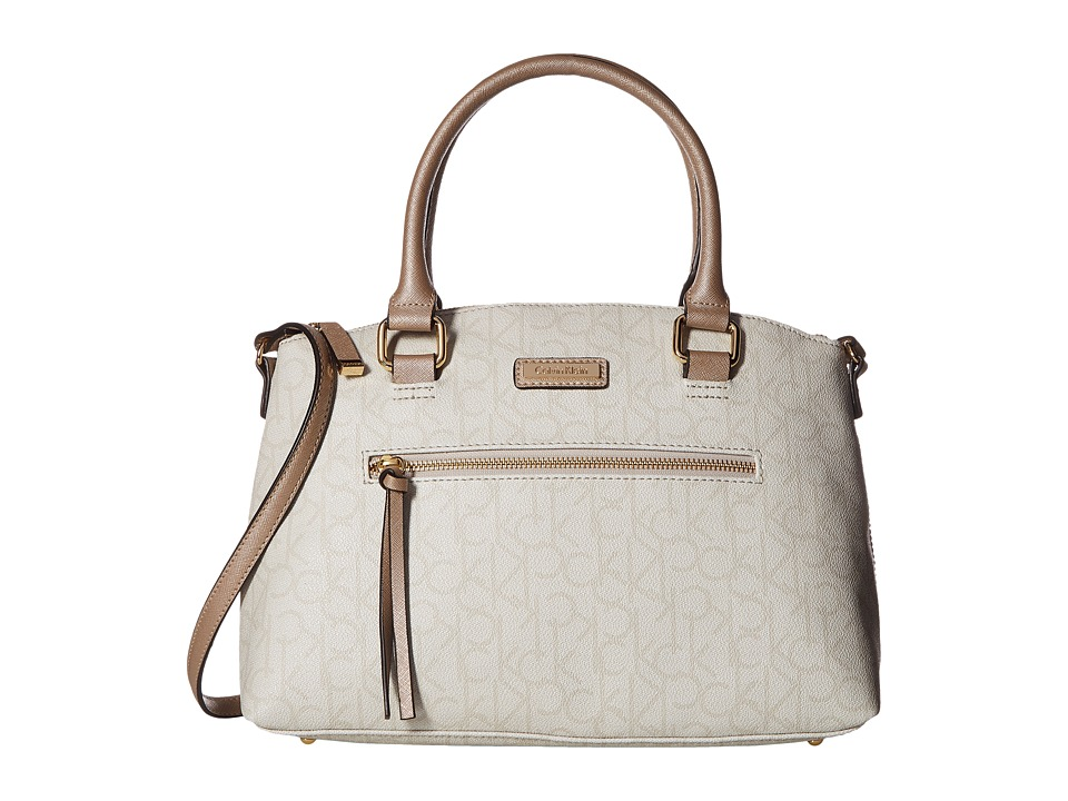 Calvin Klein - Key Item Monogram Satchel (Textured Grey/Metallic Truffel) Satchel Handbags