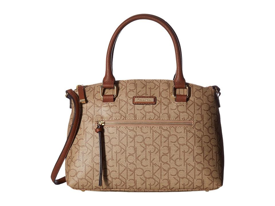 Calvin Klein - Key Item Monogram Satchel (Textured Khaki/Brown/Luggage) Satchel Handbags