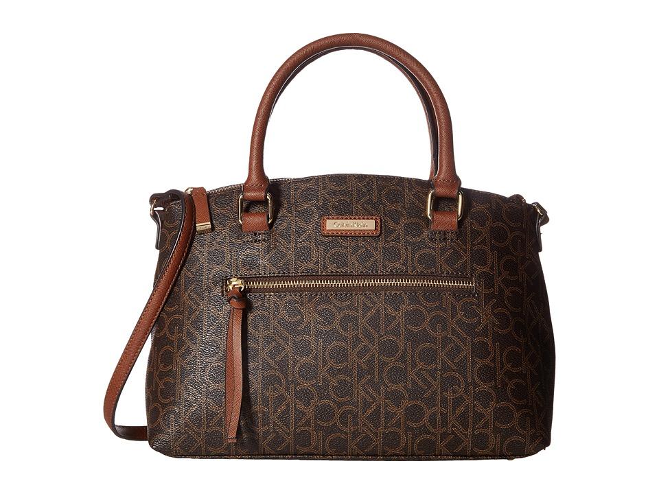 Calvin Klein - Key Item Monogram Satchel (Brown/Khaki/Luggage) Satchel Handbags