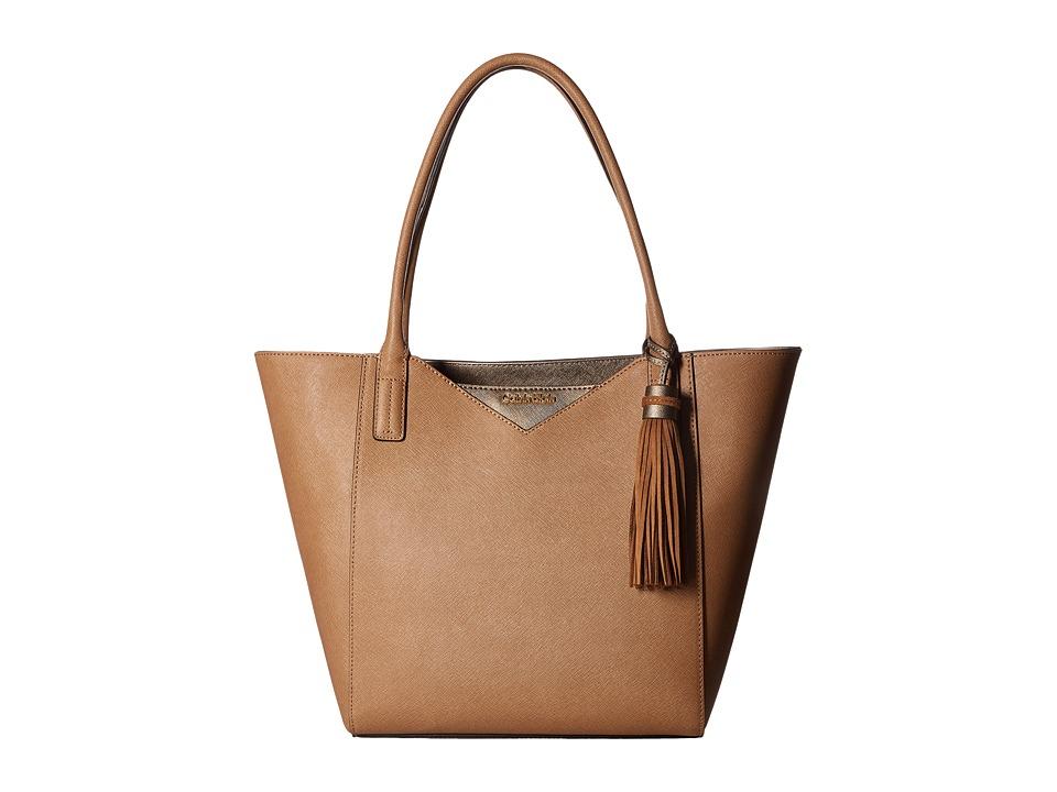Calvin Klein - Key Item Saffiano Tote (Cashew/Metallic Taupe Truffle) Tote Handbags