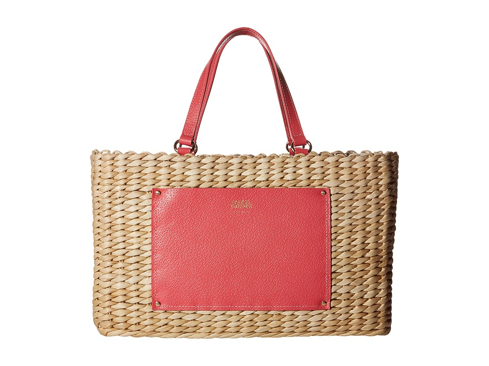 Frances Valentine - Woven Pocket Medium Tote (Natural/Pink) Tote Handbags