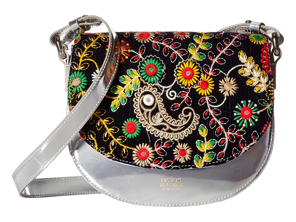 Frances Valentine - Ellen Mini Shoulder Satchel (Navy-Multi/Silver) Satchel Handbags