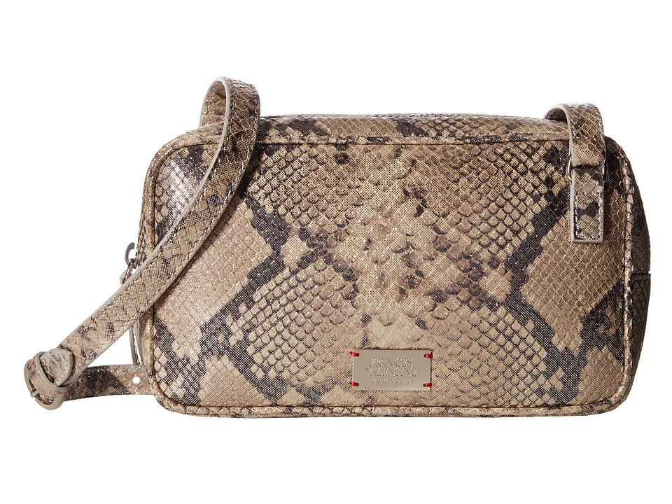 Frances Valentine - Glitter Snake Lucy Crossbody (Taupe/Silver) Cross Body Handbags