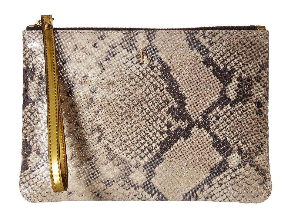 Frances Valentine - Large Glitter Snake Zip Wristlet (Taupe/Silver) Wristlet Handbags