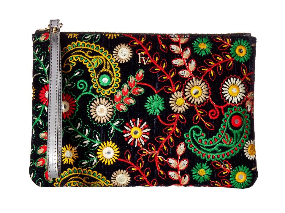 Frances Valentine - Large Floral Embroidery Zip Wristlet (Navy) Wristlet Handbags