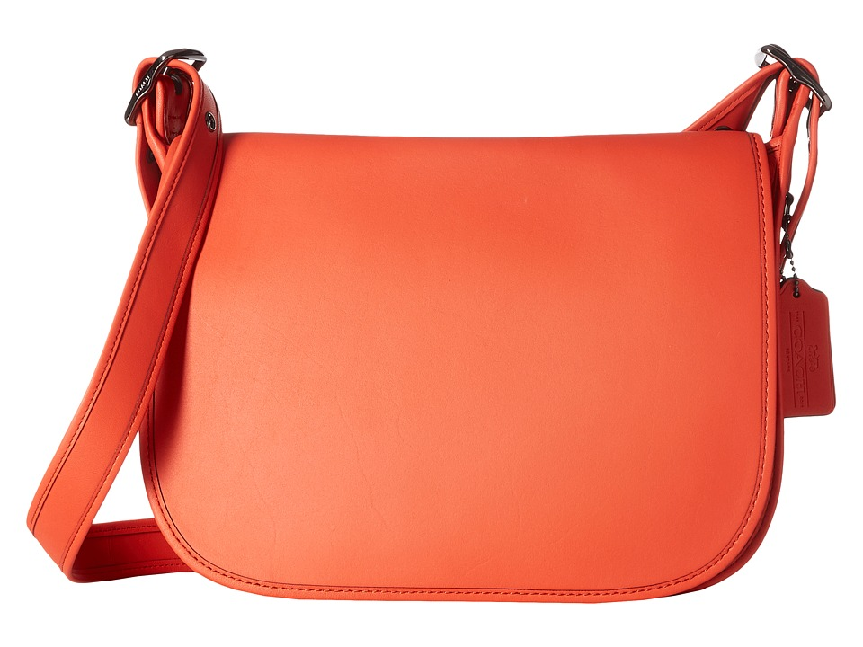 COACH - Glovetanned Leather Saddle Bag (DK/Deep Coral) Bags