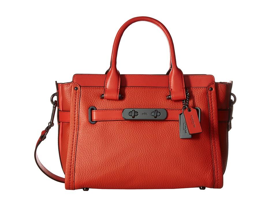 COACH - Pebbled Leather Coach Swagger 27 (DK/Deep Coral) Satchel Handbags
