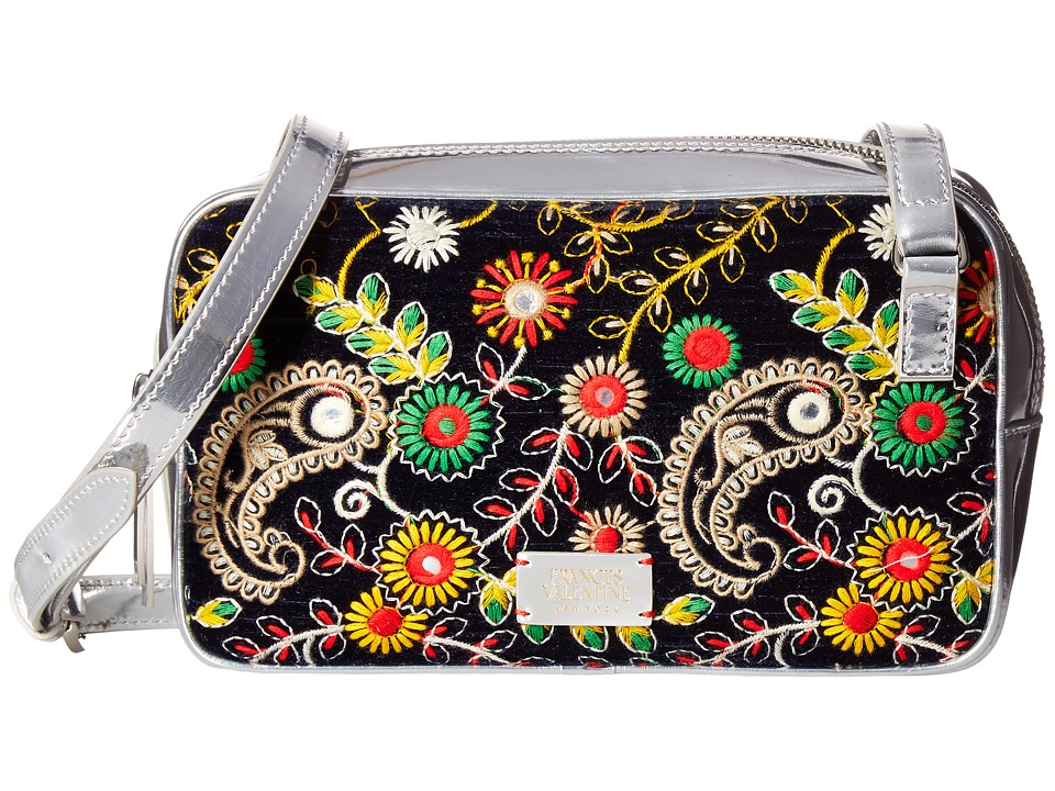 Frances Valentine - Lucy Floral Embroidery Crossbody (Navy) Cross Body Handbags