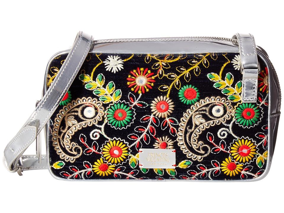 Frances Valentine - Lucy Floral Embroidery Crossbody (Navy) Cross Body Handbags