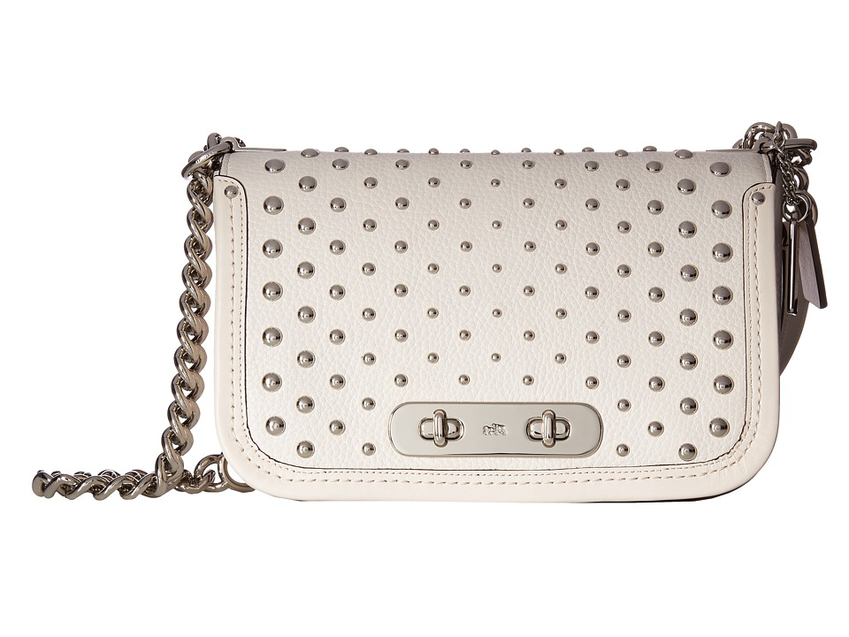 COACH - Ombre Rivets Coach Swagger Shoulder Bag (SV/Chalk) Shoulder Handbags