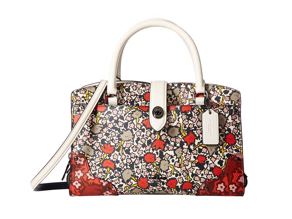 COACH - Multi Floral Mercer 24 Satchel (DK/Teal Yankee Floral) Satchel Handbags