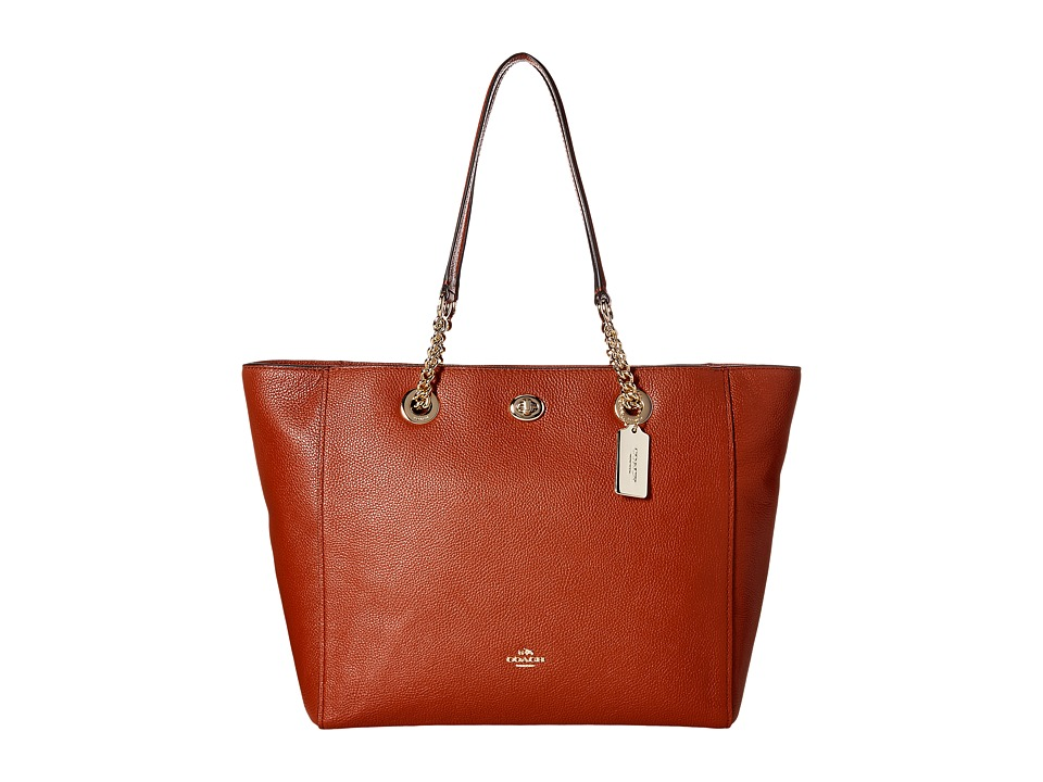 COACH - Pebbled Turnlock Chain Tote (LI/Terracotta) Tote Handbags