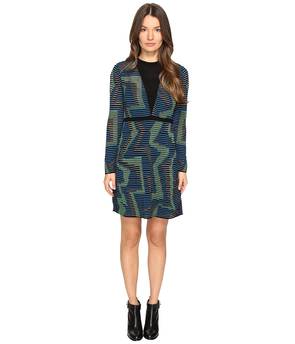 M Missoni - Geo Knit Long Sleeve Dress (Blue) Women's Dress