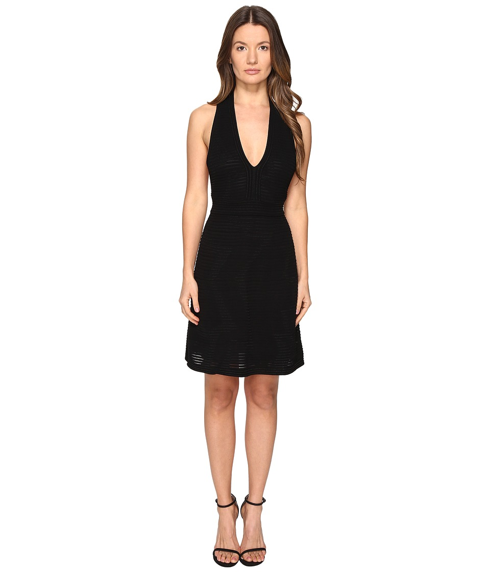 M Missoni - Solid Rib Stitch V Dress (Black) Women's Dress