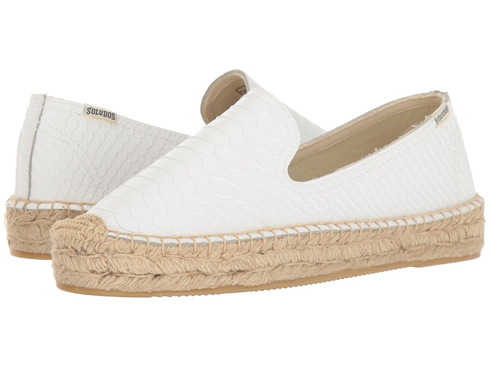 Soludos - Snake Platform Smoking Slipper (White) Women's Slippers