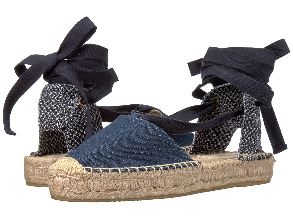 Soludos Denim Platform Gladiator Sandal (Dark Denim) Women