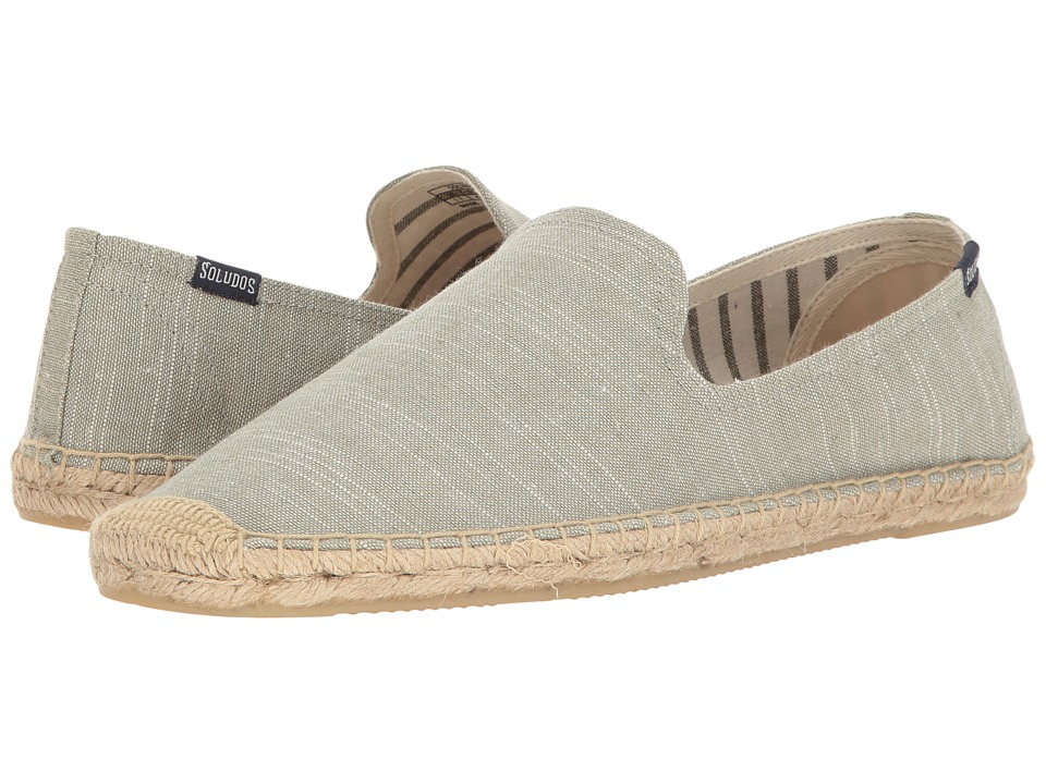 Soludos - Striped Linen Smoking Slipper (Sage Green) Men's Slippers