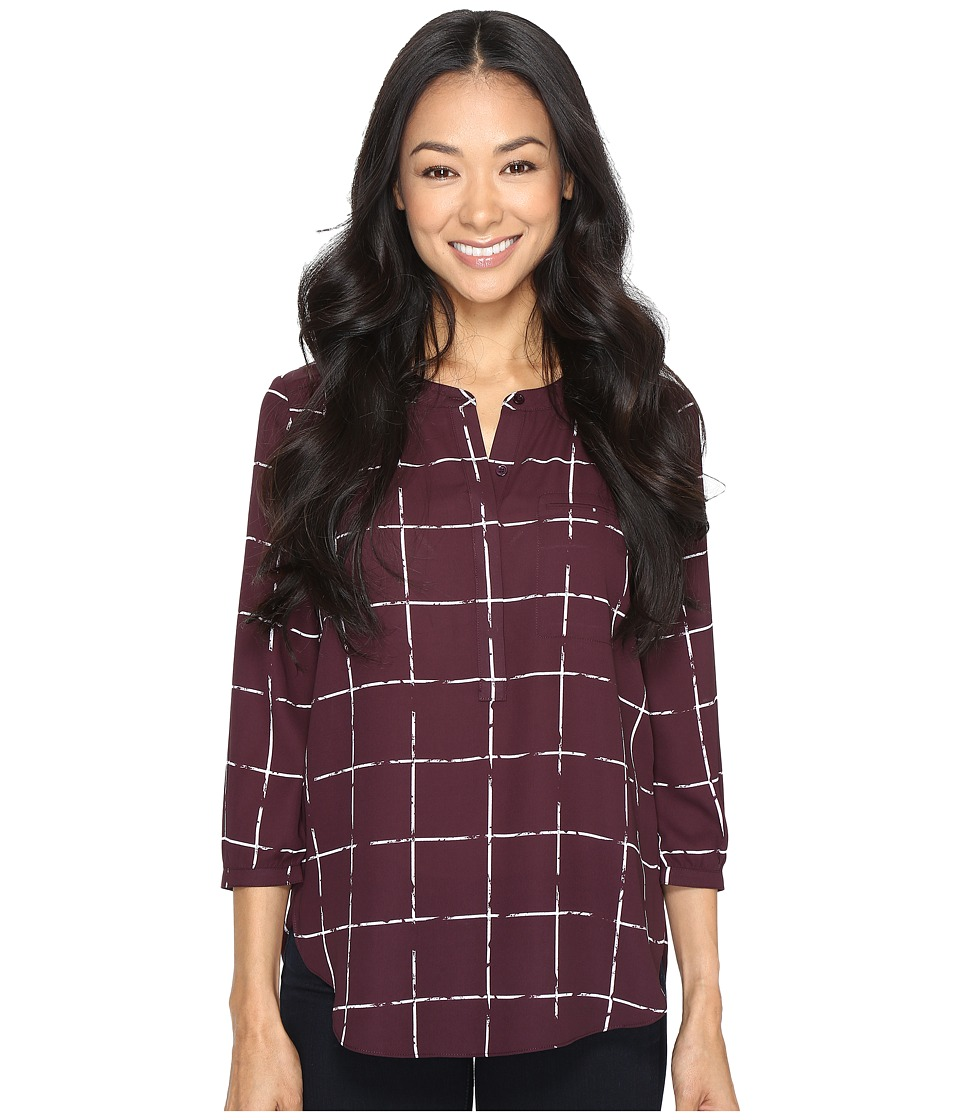 NYDJ Petite - Petite 3/4 Sleeve Pleat Back Solid (Frosted Windowpanes) Women's Blouse
