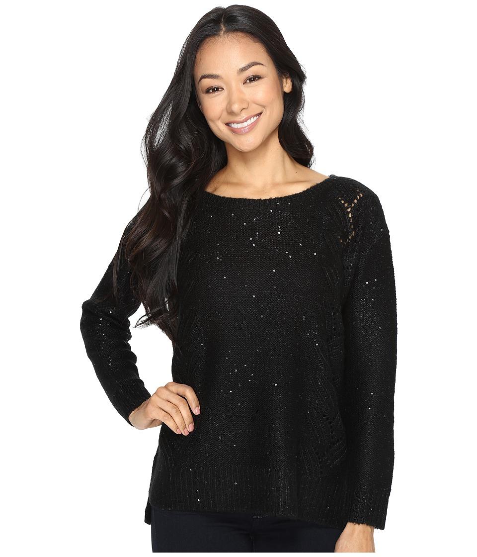 NYDJ Petite - Petite Sequin Tunic (Black) Women's Clothing