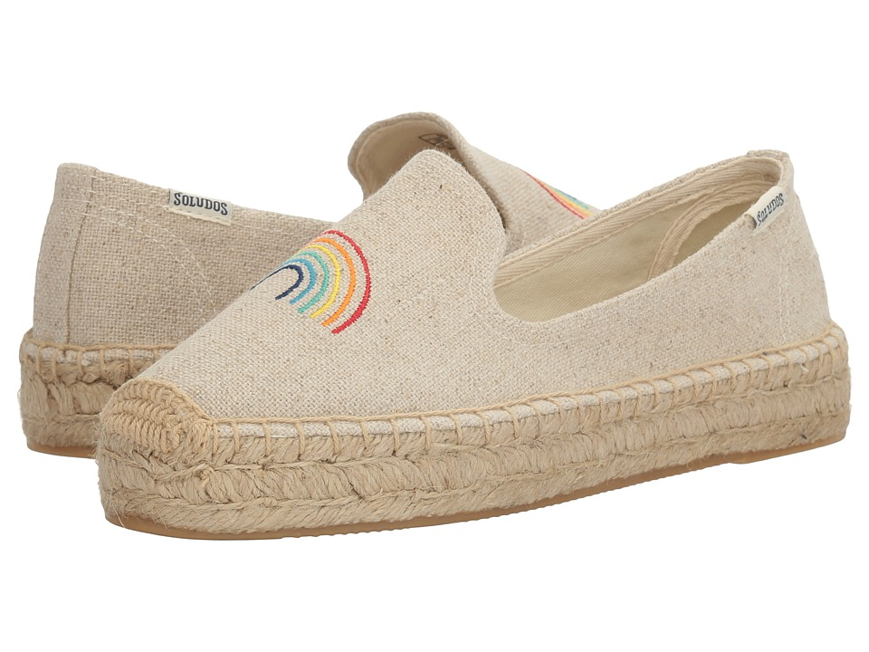 Soludos - Rainbow Embroidered Platform Smoking Slipper (Sand) Women's Slippers
