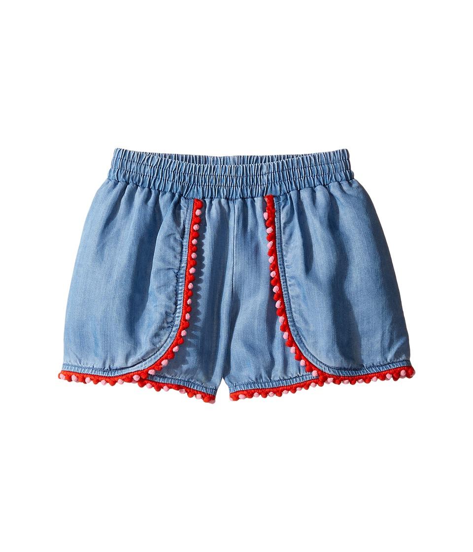 Kate Spade New York Kids - Pom Trim Shorts (Toddler/Little Kids) (Chambray) Girl's Shorts