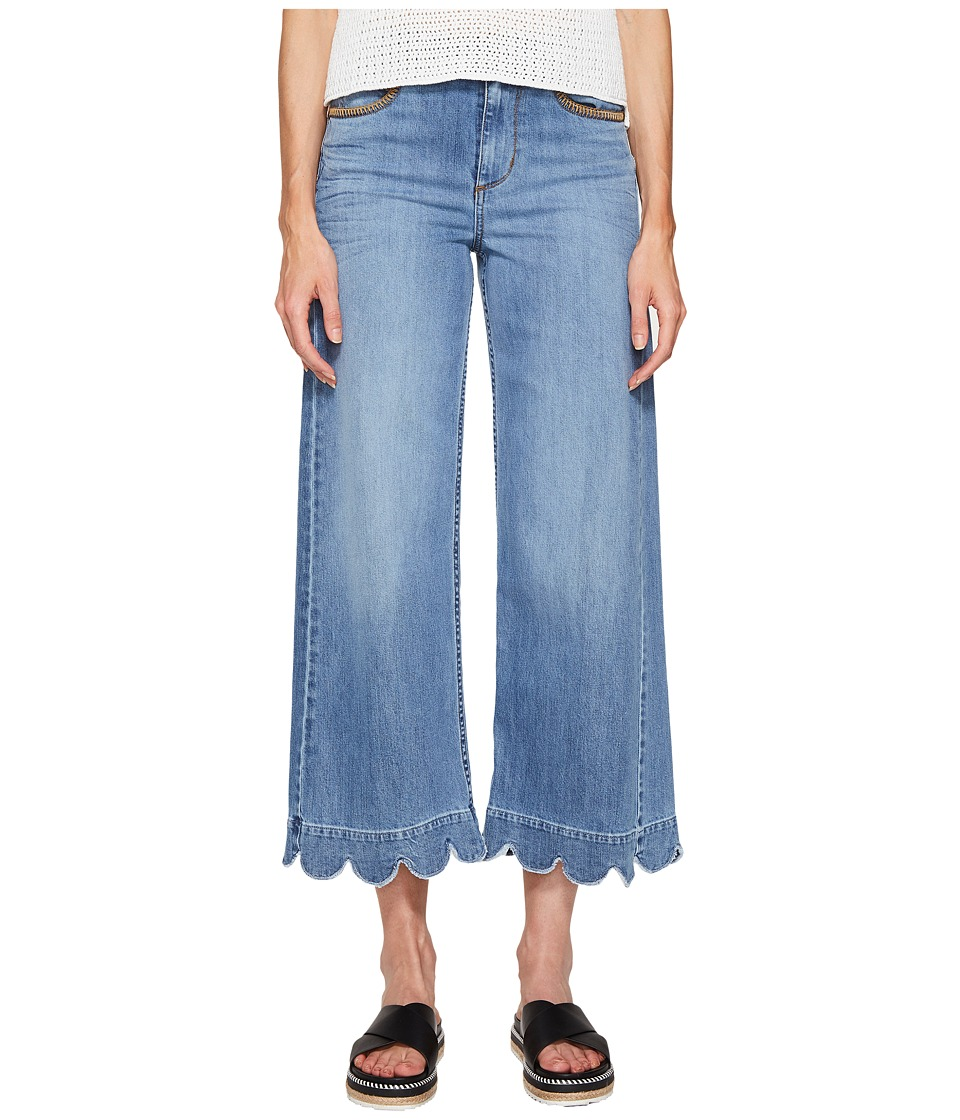 RED VALENTINO - Stone Washed Scallops Embroidery Pants (Light Blue Denim) Women's Jeans