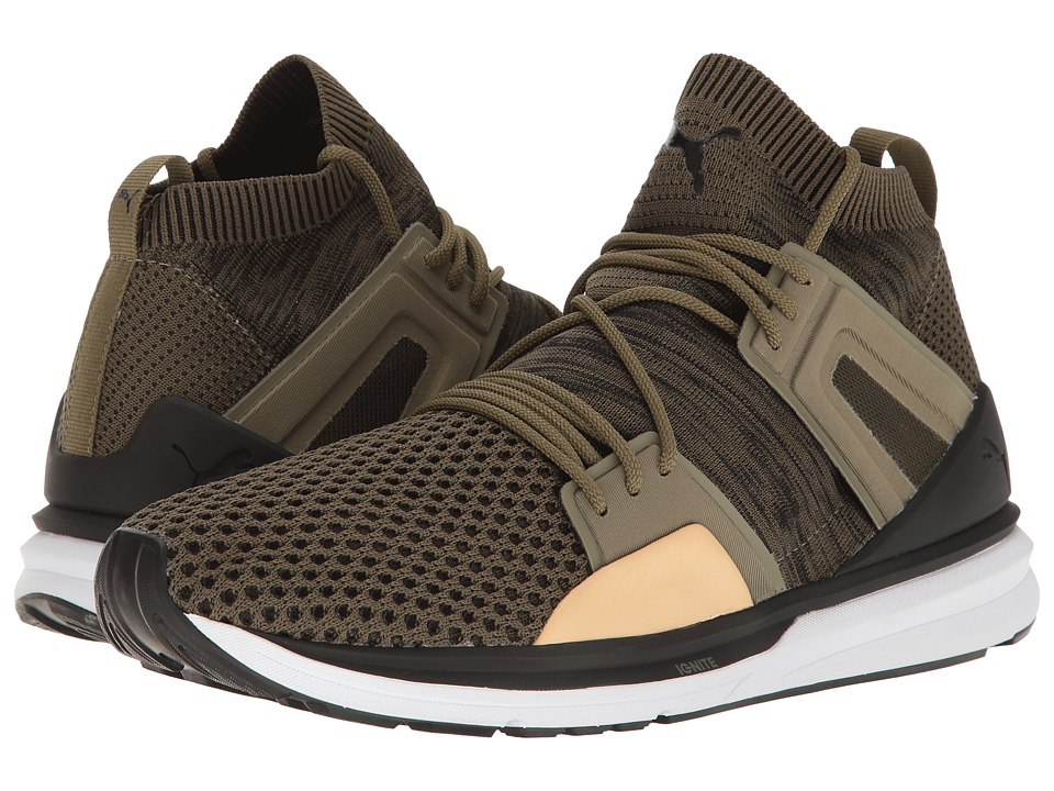 PUMA - B.O.G Limitless Hi Evoknit (Burnt Olive/Puma Black/Puma White) Men's Shoes