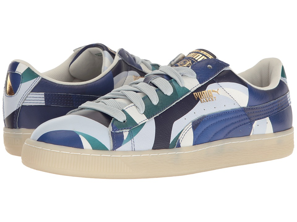 PUMA - Puma X Careaux Basket Graphic (Twilight Blue/Halogen Blue) Women's Shoes
