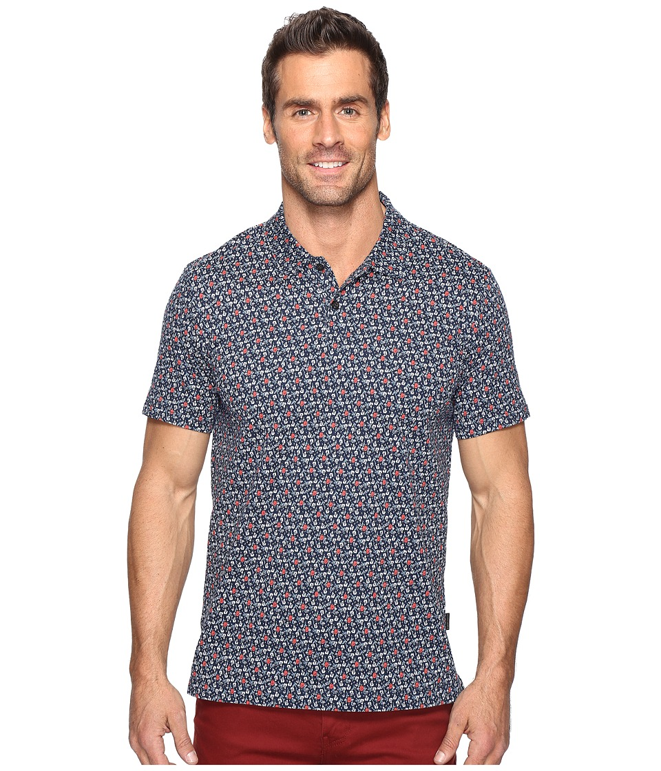 Perry Ellis - Pima Cotton Floral Polo (Ink) Men's Short Sleeve Pullover