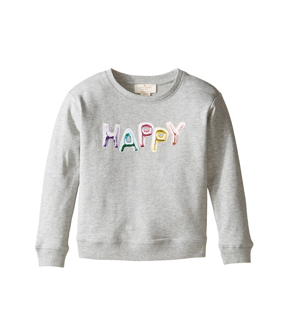 Kate Spade New York Kids - Happy Sweatshirt (Toddler/Little Kids) (Heather Grey) Girl's Sweatshirt