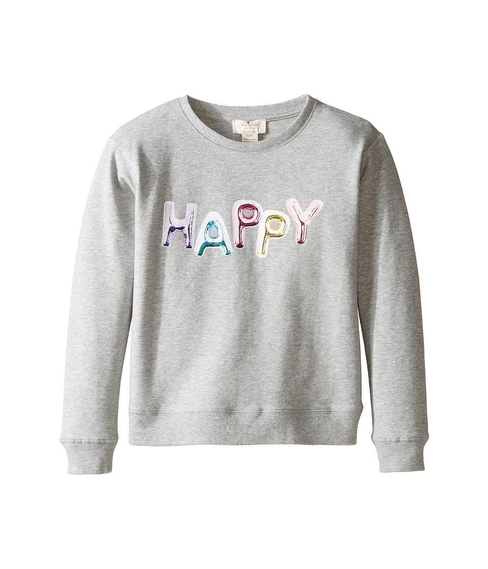 Kate Spade New York Kids - Happy Sweatshirt (Little Kids/Big Kids) (Heather Grey) Girl's Sweatshirt