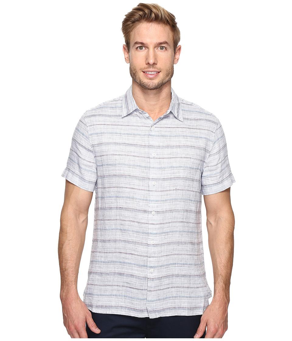 Perry Ellis - Space Dyed Stripe Linen Shirt (Citadel) Men's Clothing