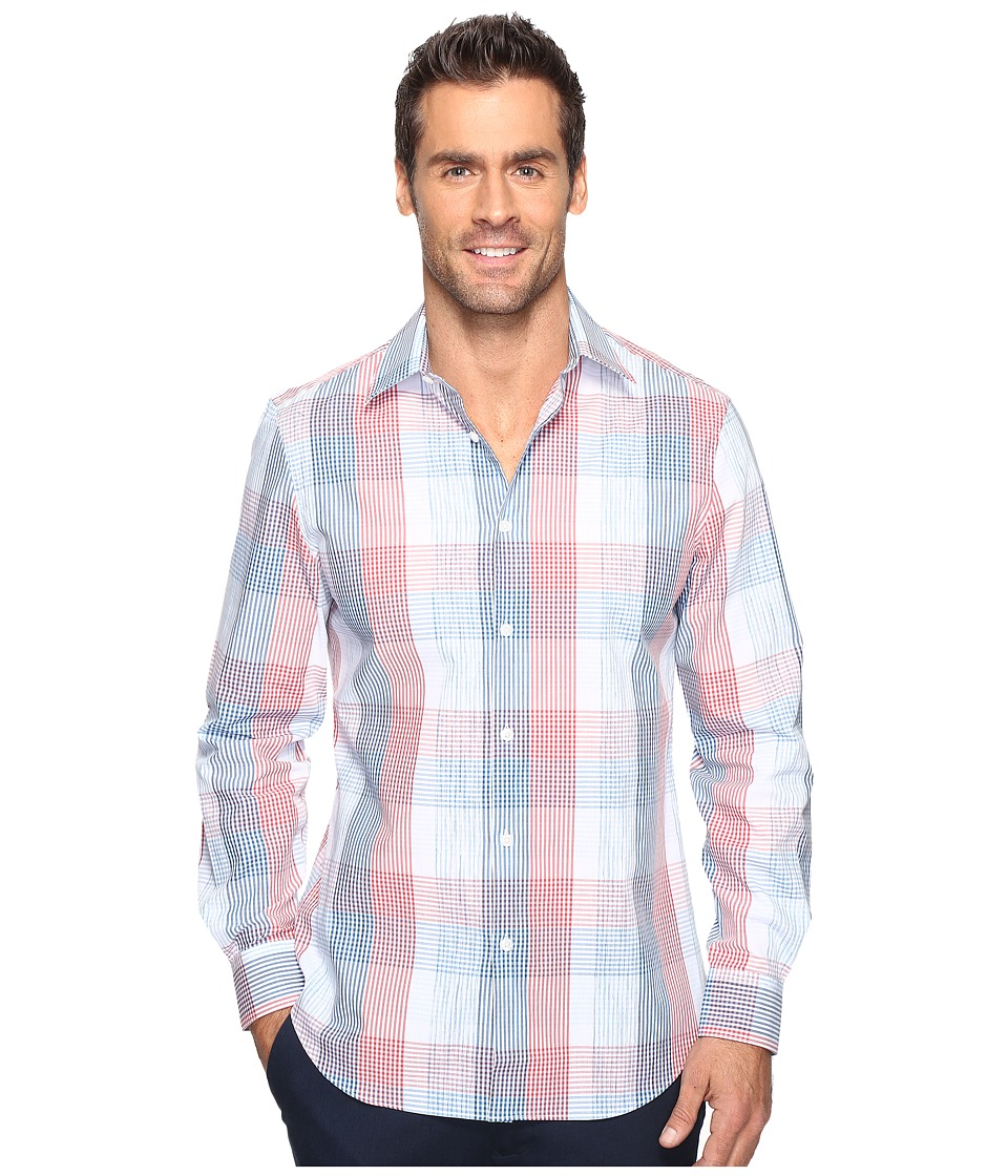 Perry Ellis - Ombre Space Dye Plaid Shirt (Bright White) Men's Clothing